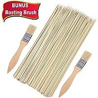 Bonus 2pinceles de cerdas naturales de bambú–Marshmallow Smores asar pinchos de madera de incienso de 12pulgadas, resistente, 100piezas, perfecto para caliente perro salchicha Kebab, ambientalmente seguro