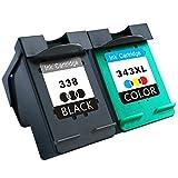 TooTwo 2 Paquete Cartuchos de Tinta Remanufacturados Reemplazar para HP 338 343XL (1 Negro, 1 Tricolor) Compatible con HP PSC 1610 2355, HP Deskjet 460C 6540 5740 6840 6620