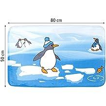 Tatkraft Penguins Bath Mat Ultra Soft Anti Slip Microfiber 50 X 80 cm