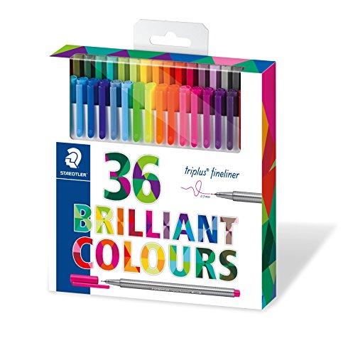 Staedtler triplus 334 C36 Fineliner, dreikant, Set mit 36 brillanten Farben, hohe Qualität, superfeine, metallgefasste Spitze, Linienbreite ca. 0.3 mm