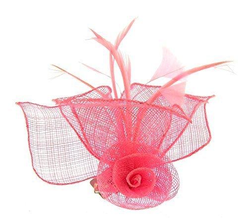 Clip rose cheveux Bibi en sinamay pour événements spéciaux