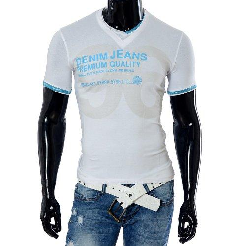M008 Neu Herren Shirt Poloshirt T-Shirt Kurzarm V-Neck V-Ausschnitt Clubwear Weiß