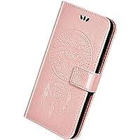Herbests Compatible con Samsung Galaxy J8 2018 Funda de Cuero Carcasa Cartera Flip Cover Funda con Tapa en Relieve Búho Estuche Retro Puro Color Wallet Case con Función de Soporte,Oro Rosa