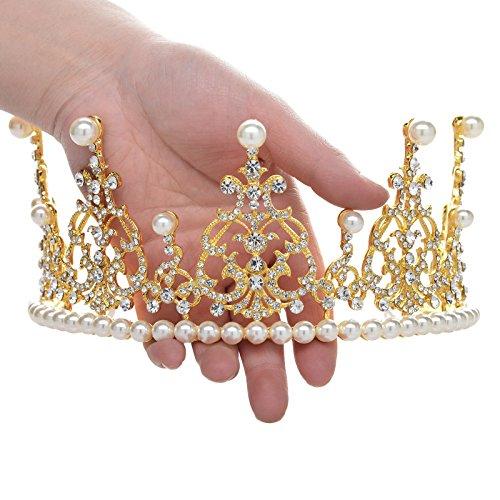 SWEETV Noble Perle Cristal Fête Mariage Couronne Diadème Fête Nuptiale Accessoires de Coiffure Or