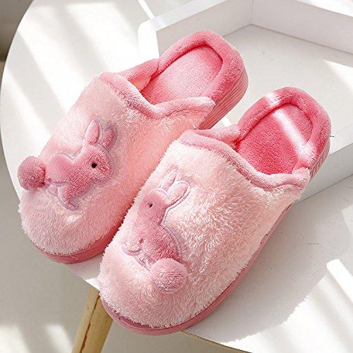 DogHaccd pantofole,In autunno e inverno, cartoon rabbit paio di pantofole di cotone cotone femmina e restare a casa anti-slittamento caldo coppie pantofole maschio Rosa1