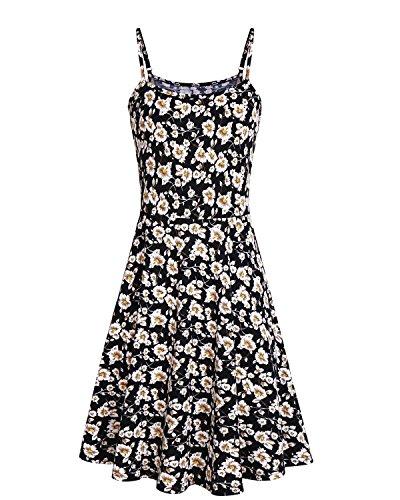 SOLERSUN Tunika-Kleid, Damen Vintage Floral Print Sommer ärmelloses Kleid Camis Swing Weste Schwarz and Weiß L Floral Vintage-weste