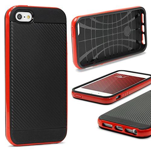 Urcover® Apple iPhone 7 Schutz-Hülle in Gold [ Carbon Optik ] Hybrid 2 teiliges Case | TPU PC Cover Case robust Handyschutz | Smartphone Zubehör Tasche Rot