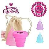Coppetta Mestruale + Coppa per la Sterilizzazione Femme Essentials | 100% Silicone per Uso Medico | Ecologica, Sicura, Ipoallergenica e Comoda | Taglia: Small | Colore: Rosa