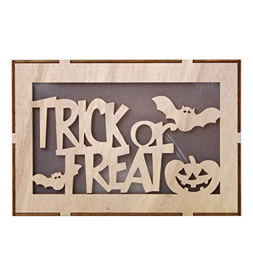 Heetey Halloween Dekoration Holz Kürbis Spukhaus Anhänger LED Nachtlicht Halloween Home Decor Clever Holz Halloween runde Ausschnitte Kürbis Spukhaus Anhänger Hexen-LED-Lichter (Bane Katze Kostüm)