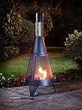New Look A2Z Home Solutions camino da giardino Outdoor patio riscaldatore Chimnea legno bruciatore in acciaio, moderno (120cm) immagine