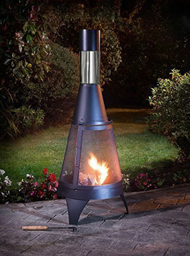 A2Z HOME SOLUTIONS Outdoor Chimenea Outdoor Garden Patio Heater Chimnea Wood Burner Steel Chiminea (Modern 120cm)