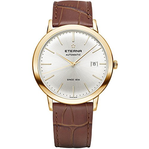 Eterna Men's Eternity 40mm Brown Leather Band Rose Gold Plated Case Automatic Analog Watch 2700-56-11-1391