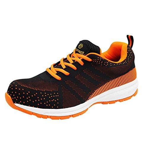 Deodorant Stahl Zehe Sportschuhe, Sork Schuhe, Arbeitsversicherung Sicherheitsschuhe für Männer,Orange,40 (Sneakers Für Stahl Zehen Männer Schuhe)
