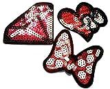 b2see Strass Glitzer Aufnäher Patches Applikationen mit Strass Pailletten Glitzer zum aufbügeln 3 er Set rote Schleife Diamant und Herz je ca 7 cm