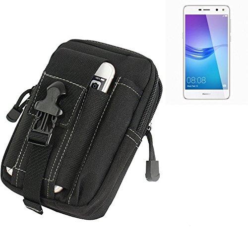 K-S-Trade für Gürtel Tasche Huawei Y6 (2017) Dual SIM Gürteltasche Schutzhülle Handy Hülle Smartphone Outdoor Handyhülle schwarz Zusatzfächer