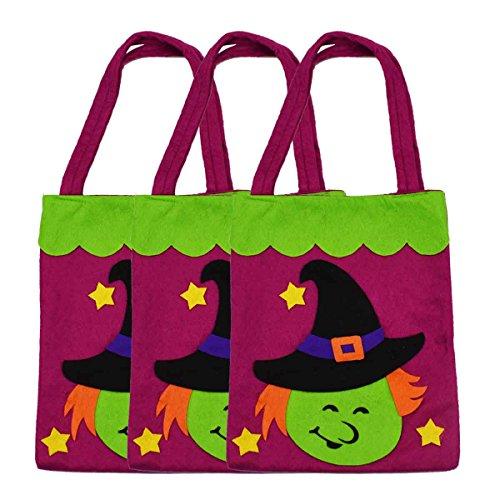 3 Stück Halloween-Tragetaschen - Large 39cm - Wiederverwendbare Lebensmittelgeschäft-Süßigkeit-Kürbis-Taschen-Taschen für Partei-Bevorzugungs-Dekoration (Hexe)