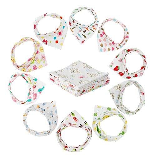 10er Baby Dreieckstuch Lätzchen Jugen Mädchen Spucktuch Baumwolle Halstücher mit süßen Motiven in unterschiedlichen Farben, Doppellagig Saugfähig (Mehrfarbig)