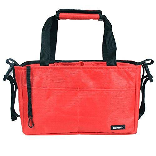 Damero Inserire Organizzatore (cuciti in fondo) per le donne / sacchetto pannolino con maniglie e cinghie passeggino (Rosso)