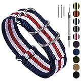 Fullmosa NATO 18mm 20mm 22mm 24mm Bracelet Montre pour Homme Femme, 10 Couleurs Montre Bracelet Nylon à Rayure avec Fermoir Métal Réglable, Bleu + Blanc + Rouge 18mm