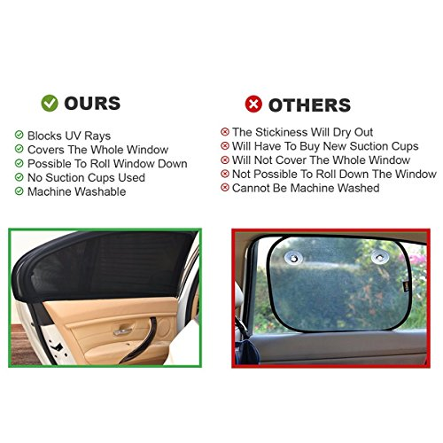 JellyBabaBaby Car Sun Shades – Blocks UV Rays, Universal Fit ( Pack of 2 )