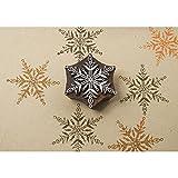 Rayher Hobby 58878000 Blockwallah Holzstempel Motiv Eisblumenkristall, 7,5 x 7,5 cm, Stempel handgefertigt in Indien, für Stoffe, Ton, Papier, Textildruck