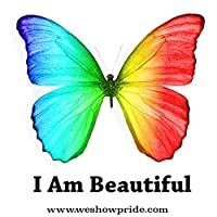 Gay Pride Square Novelty Stickers I Am Beautiful (Pack of 3)
