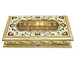 Royal Handcrafted Wooden Acrylic meenakari Rectangle Design mukhvas Box/Dry Fruit Box/Sweet Box/Dessert Box/Chocolate Box for Festivals/Gift/Wedding/Function (13x8x2 inch)