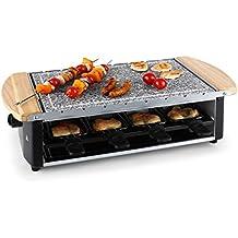 Klarstein Chateaubriand raclette con parilla (1.200 W, control de temperatura, parrilla de piedra extraible, para 8 personas)