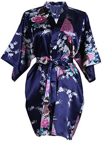 ETAOLINE Women/'s Long Kimono Robe Silk Dressing Gown Satin Nightwear Pyjamas UK