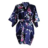 Elite99® Women's Sexy Robes Peacock and Blossoms Kimono Satin Nightwear Mini Dress (XL, Dark Blue)