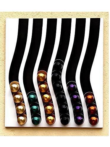 Porta capsule capstores distributore per 60 capsules tipo nespresso (nero e bianco)