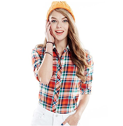 ACVIP Chemisier Femme/Fille Étudiante Carreaux Blouse Casuel Manche Longue Shirt Coton avec Boutons,17 Couleurs 12#