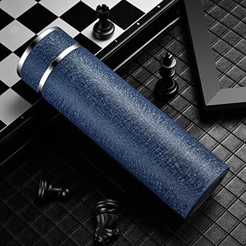 GYL Edelstahl-Isolierkessel, 24-Stunden-Isolier-Vakuum-Reisebecher mit Deckel und Tee- / Kaffeefilter-Business-Tasse 480 ml,Blau