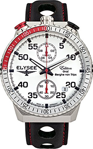 Elysee Men's Chronograph Quartz Watch with Leather Calfskin Strap 80516MM