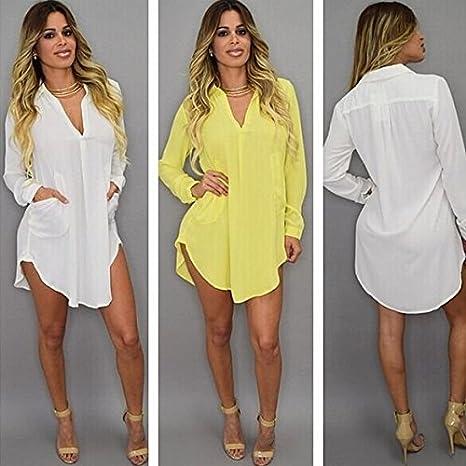 Blansdi Damen Mädchen Frauen Sommer beiläufig Sexy V-Ausschnitt Single  Breasted Lange Hemden irregulär Shirt Kleid Minikleid: Amazon.de: Bekleidung