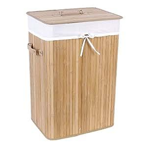 Songmics 3 Handles XL 72 L Large Laundry Basket Laundry Box With Lining Folding Bamboo Storage Box Natural 40 x 30 x 60 cm LCB102