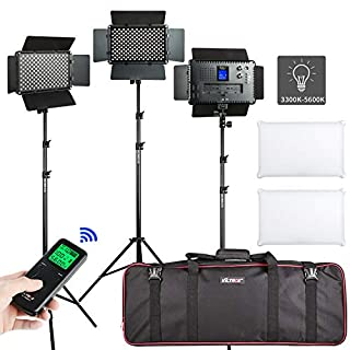 (3 Packs) VILTROX VL-S192T LED Photo Studio Lighting Kit include: 45W 3300K-5600K Bi-Color LED Video Light Panel with Adjustable Light Stand for Portrait Photography, Interview, Film Production