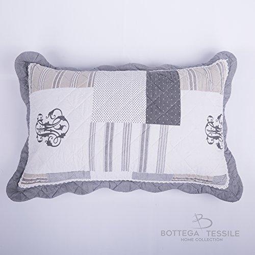 Coppia di Guanciali con Federe Completi di Imbottitura - per complementi d'arredo per interni,divano,letto,giardino mod. AVIGNON - Colore Grigio - misura 50 x 80 cm - Pezzi 2