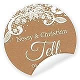 Aufkleber 'Vintage' 24 Stück (4 cm) personalisiert Spitze Hochzeit Gastgeschenke