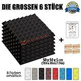 Super Dash (6 Pack) von 50 X 50 X 5 cm Schwarz Pyramide Akustikschaumstoff Noppenschaumstoff Akustik Dämmmatte Schallisolierung Schaumstoff Polster Fliesen SD1034 (SCHWARZ)