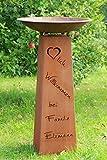 Rostikal | Personalisierte Edelrostsäule Herzlich Willkommen | Pflanzsäule 100 cm hoch mit Rostschale rund 60 cm