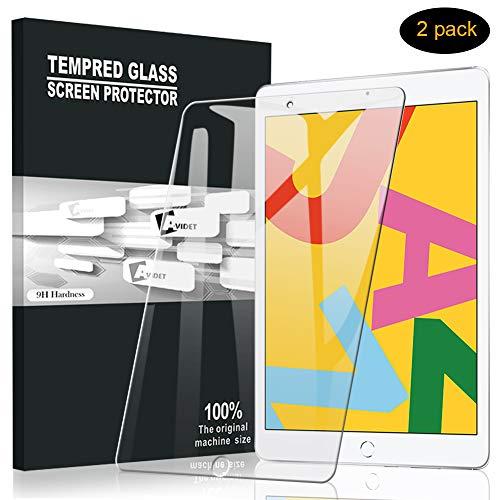 A-VIDET Panzerglas für iPad 10.2 2019 (iPad 7. Generation), (2 Stück) 9H Härte Schutzfolie Anti-Kratzer/Bläschen/Fingerabdruck/Staub Displayfolie Panzerglasfolie für iPad 10.2 2019