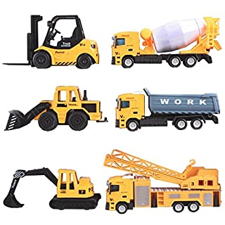 deAO 6 Die Cast Construction Trucks Play Set - Includes Forklift, Mixer, Loader, Dumper, Bulldozer & Crane