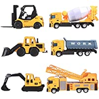 deAO Toy Vehicle Playset 6 Construction Trucks Include Forklift Mixer Loader Dumper Bulldozer Crane