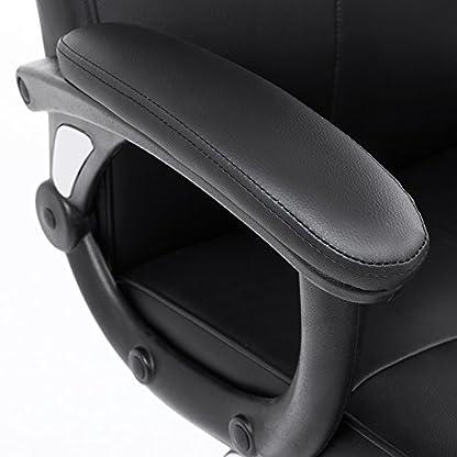 SONGMICS Silla de Oficina, PU Resistente, Silla giratoria Ajustable en Altura, Diseño ergonómico, Negro, OBG32B