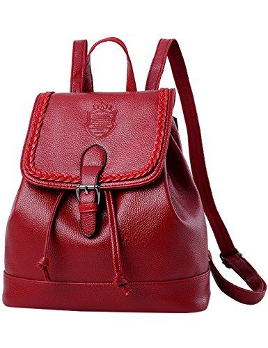 Menschwear Damen Einfargroß Einfache Stil PU Leder Casual Tasche Schulbeutel Reise Rucksack Blau Rot-wien