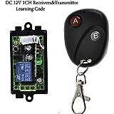 GIZGA®Control Remoto de Transmisor Interruptor Inteligente DC12V 1CH RF Inalámbrico 2 Botones Receptor