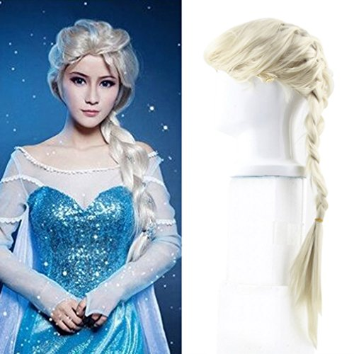 TataYang Princess ELSA Weiß Gold Lang Haar Zopf -