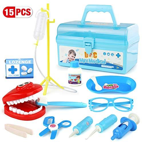 Medizinische Arztkoffer Spielzeug Doktorkoffer mit Zähne Doktor SetSpiel Rollenspiel Zum Für Kinder Über 3 Jahre Alt -16 Stück (Arzt Spiel)