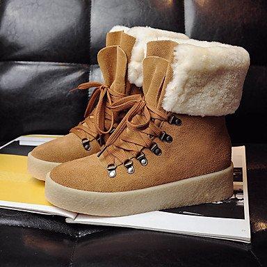 RTRY Scarpe Da Donna In Pelle Di Nappa Winter Snow Boots Fashion Stivali Stivali Tacco Piatto Babbucce/Stivaletti Di Abbigliamento Casual Cammello Nero Beige US6 / EU36 / UK4 / CN36